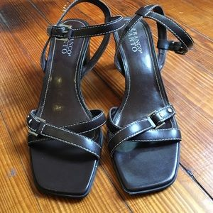 Vintage '90s Square Toe Heels Sandals Brown Franco